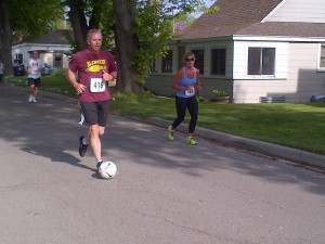 Our very own Rod Hetherington dribbled a soccer ball during his Trot to the Beach on this beautiful sunny day!!  Way to go to everyone who participated. Congratulations.